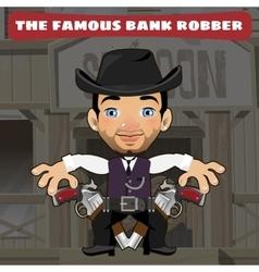 Cartoon character in Wild West - bank robber vector image vector image