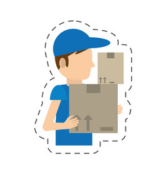 Cartoon man delivery boxes work vector