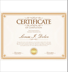 Certificate or diploma retro vintage template 03 vector