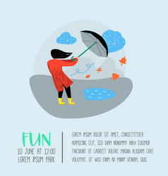 Character people walking in the rain poster vector