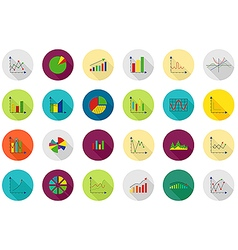 Charts round icons set vector image