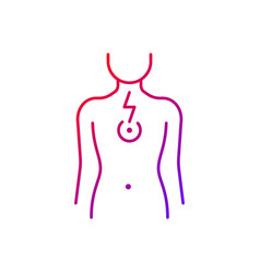 Chest pain gradient linear icon vector
