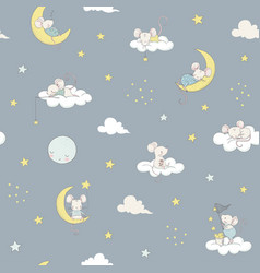 childish seamless pattern white cute little vector image