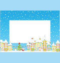 Christmas border with a toy town vector