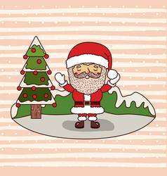 christmas card with santa claus and christmas tree vector image