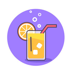 Circle icon depicting glass of refreshing juice vector