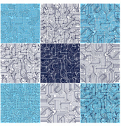 Circuit board seamless patterns set backgrounds vector