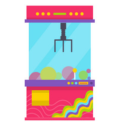 claw machine in glass box toys prize in container vector image