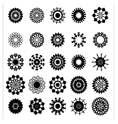 collection flower silhouettes vector image
