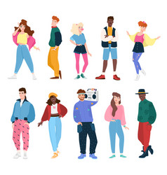 Collection people wearing trendy clothes in 80s vector