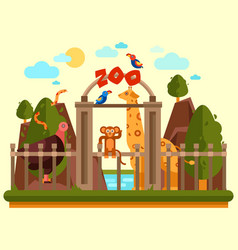 colourful view zoo entrance with animals vector image