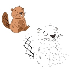 Connect dots game beaver vector