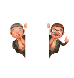 cute businessman man look out corner 3d realistic vector image