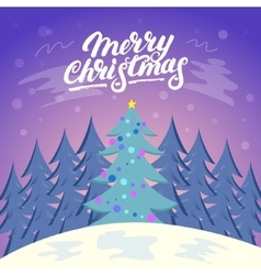 Cute Christmas landscape background with snow and vector image