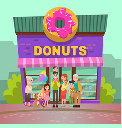 donuts restaurant people near candy store vector image