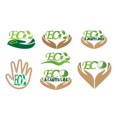 Eco solution ecological icons set logo vector