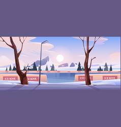 empty ice rink in winter mountain landscape vector image