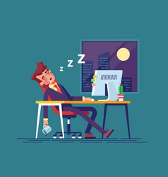 Exhausted businessman fell asleep in office vector