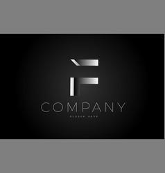F black white silver letter logo design icon vector