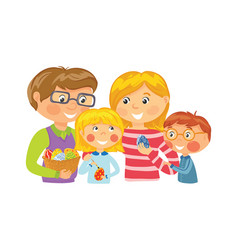 family decorating eggs for easter vector image