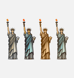 Famous statue of liberty symbol united states of vector