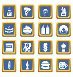 fast food icons set blue square vector image