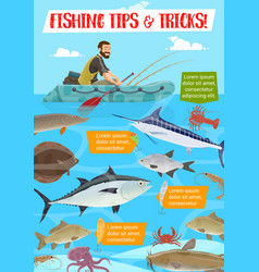 fishing sport tips and tricks cartoon vector image