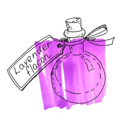 Flask with lavender essence vector