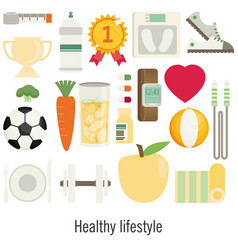 Flat of icons for fitness sport and diet vector