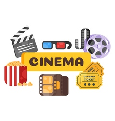 flat style set of old cinema icon for online vector image