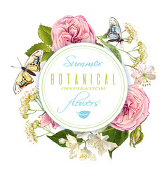 flower butterfly round banner vector image