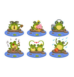 Funny frog characters set cute humanized vector