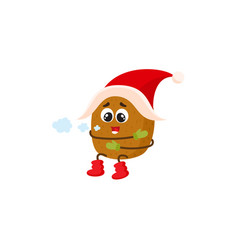 Funny kiwi character with human face in santa hat vector