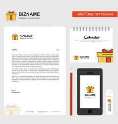 giftbox business letterhead calendar 2019 and vector image
