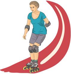 girl on roller skates vector image