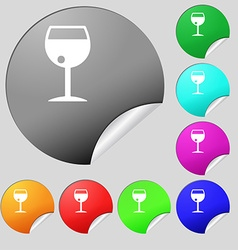 Glass of wine icon sign Set of eight multi colored vector