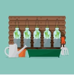 Green Onions Plants In Reuse Water Bottles vector