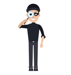 hacker magnifying glass for detect malware virus vector image