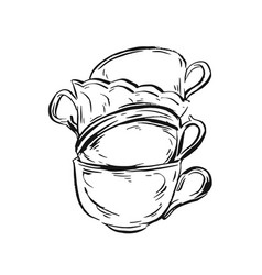 hand drawn ink graphic vintage tea cups vector image