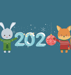happy new year 2020 celebration cute rabbit fox vector image