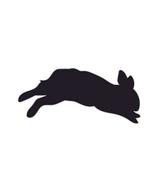 hare jumping silhouette vector image