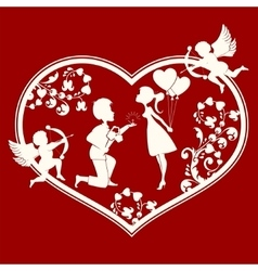 Heart with boy and girl inside vector