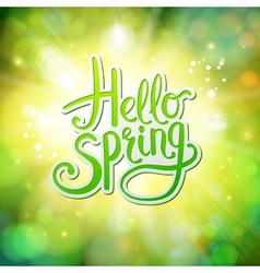 Hello Spring fresh green greeting card vector