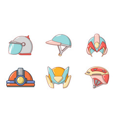 helmet icon set cartoon style vector image