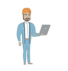 Hindu businessman using laptop vector