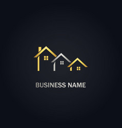 House real estate company gold logo vector