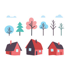 houses made of wood and winter trees forest vector image