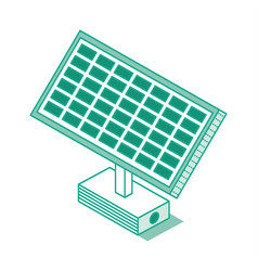isometric green solar battery panel isolated on vector image