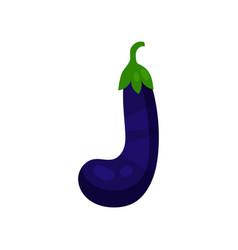 J veggie vegetable english alphabet letter made vector