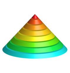 Layered cone 3d conical pyramid of 8 multicolored vector
